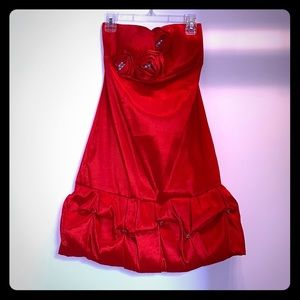 Red mini dress with petal-type details